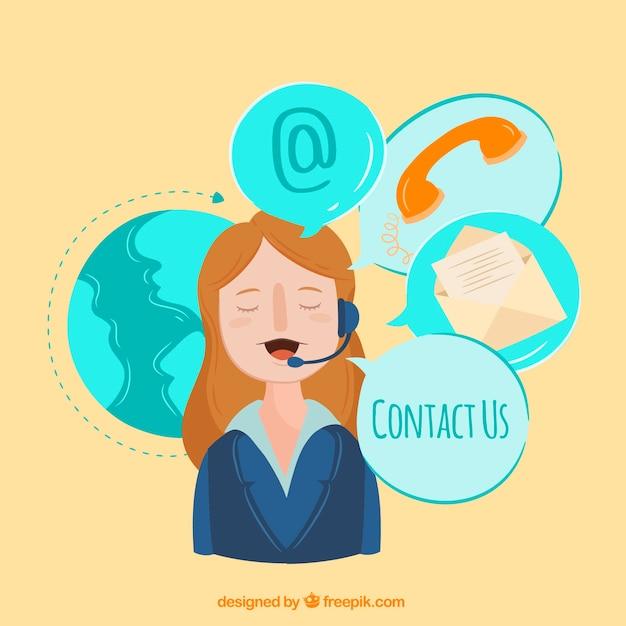 Sfondo callcenter con elementi di contatto Vettore gratuito