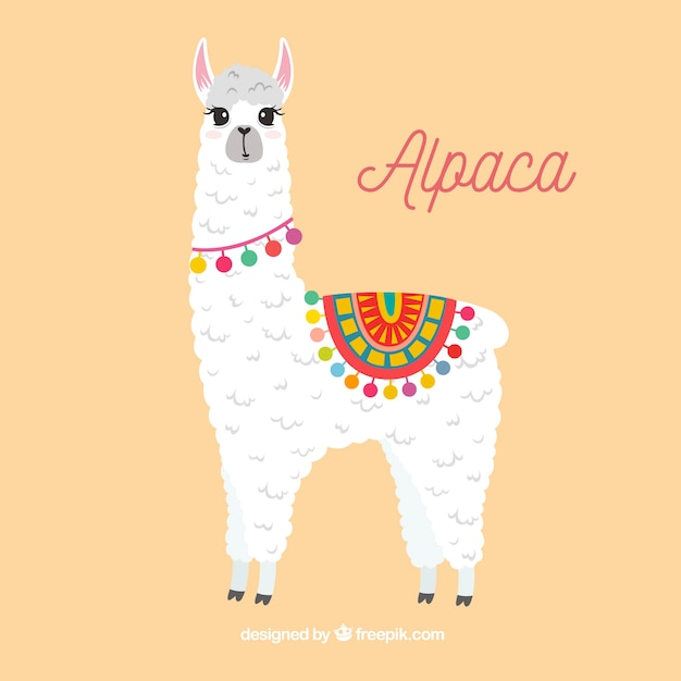 Sfondo carino alpaca Vettore gratuito