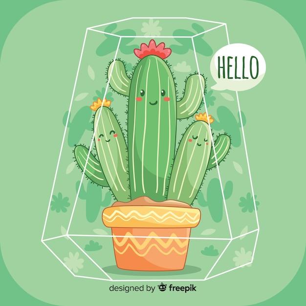 Sfondo carino cactus Vettore gratuito