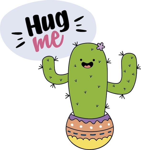 Sfondo carino cactus Vettore Premium