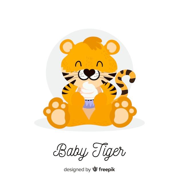 Sfondo carino tigre Vettore gratuito