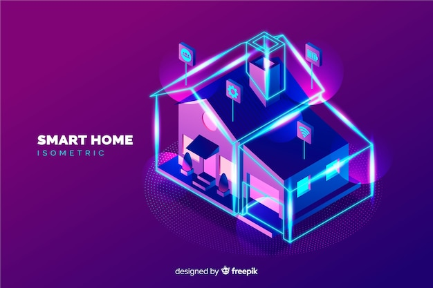 Sfondo casa intelligente isometrica gradiente Vettore gratuito