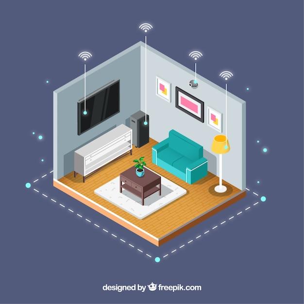 Sfondo casa intelligente Vettore gratuito