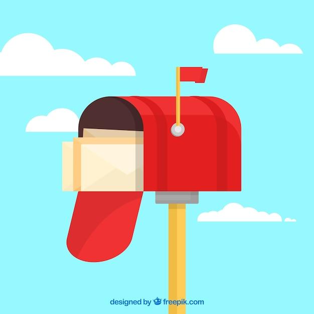 Sfondo cassetta postale rossa con le buste Vettore gratuito