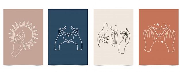 Sfondo chic con mano, cristallo, luna, stella, cuore. Vettore Premium