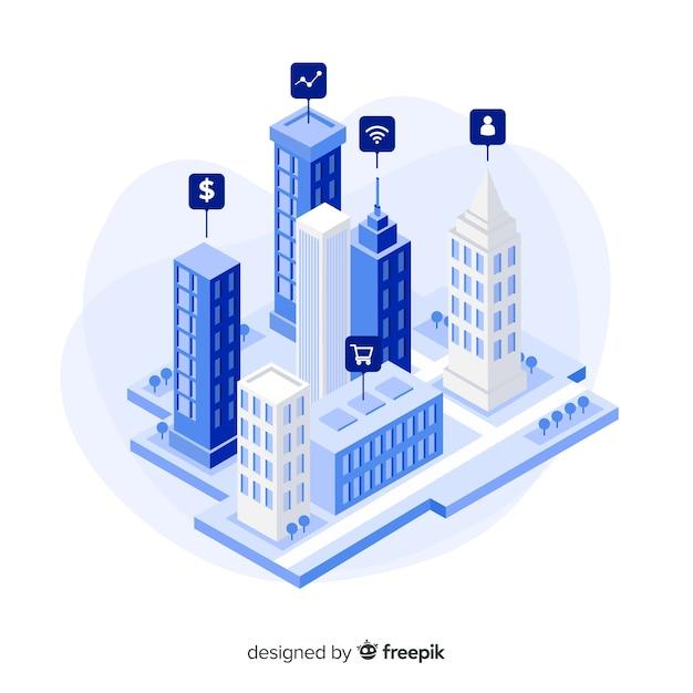 Sfondo città isometrica intelligente Vettore gratuito