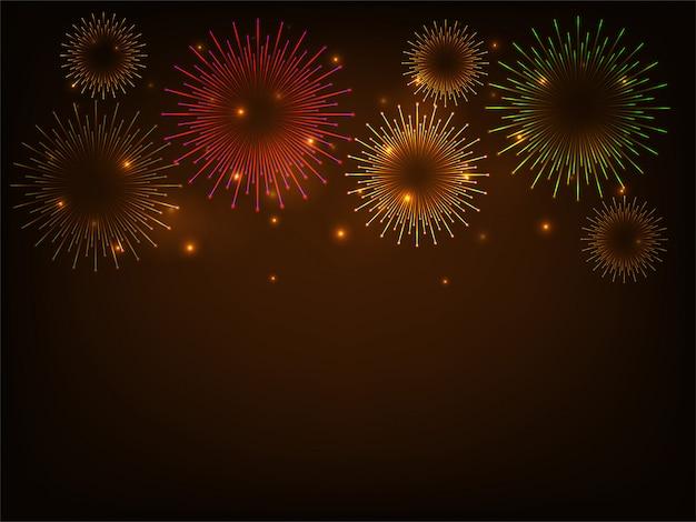 Sfondo colorato celebrazione fuochi d'artificio Vettore Premium