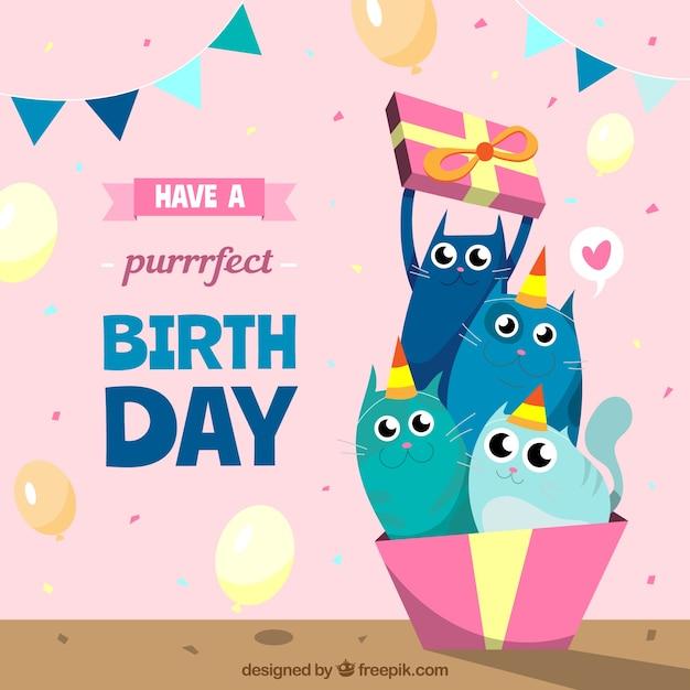 Sfondo colorato compleanno con deisng piatto Vettore gratuito