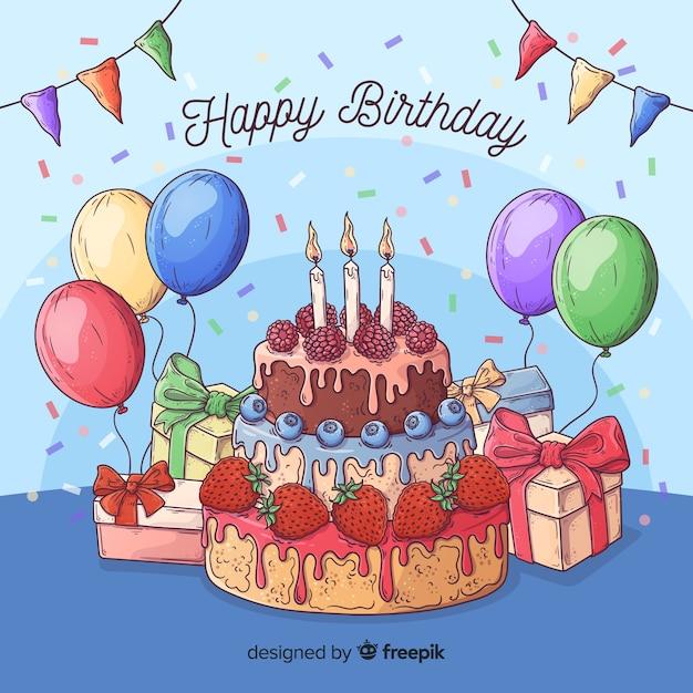 Sfondo colorato compleanno con regali e torta Vettore gratuito