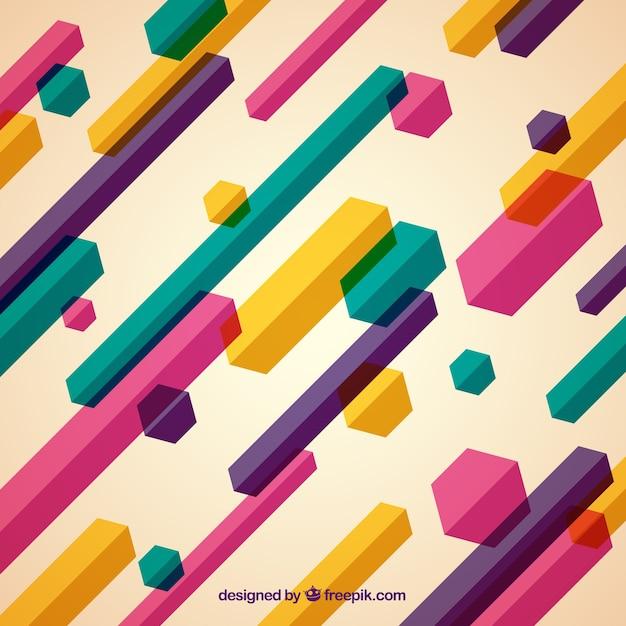 Sfondo colorato con forme geometriche Vettore gratuito