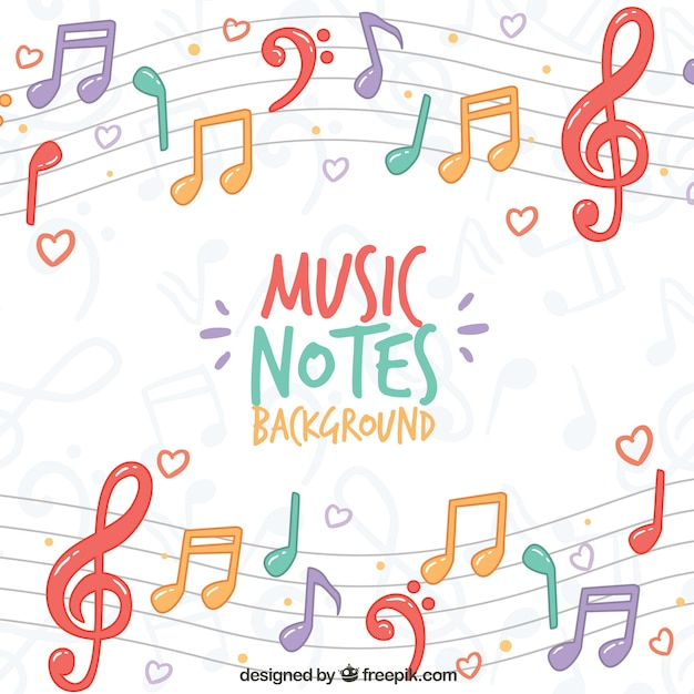 Sfondo colorato di note musicali sul pentagramma Vettore gratuito