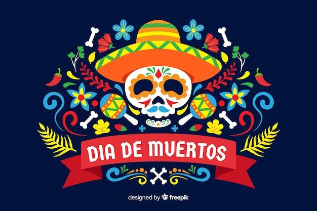 Sfondo colorato dia de muertos in design piatto Vettore gratuito