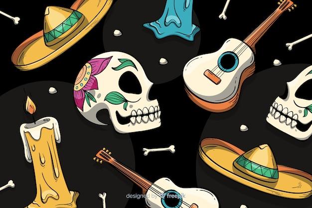 Sfondo colorato disegnato a mano dia de muertos Vettore gratuito