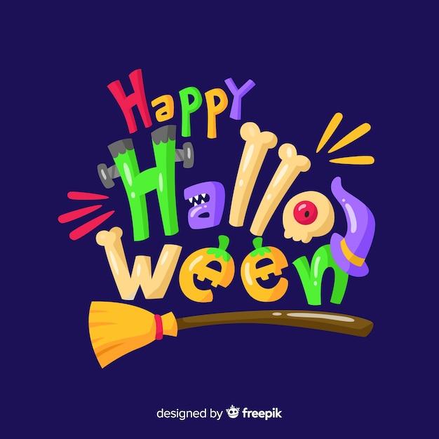 Sfondo colorato felice halloween lettering Vettore gratuito