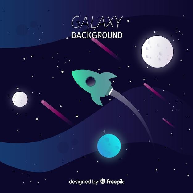 Sfondo colorato galassia con design piatto Vettore gratuito