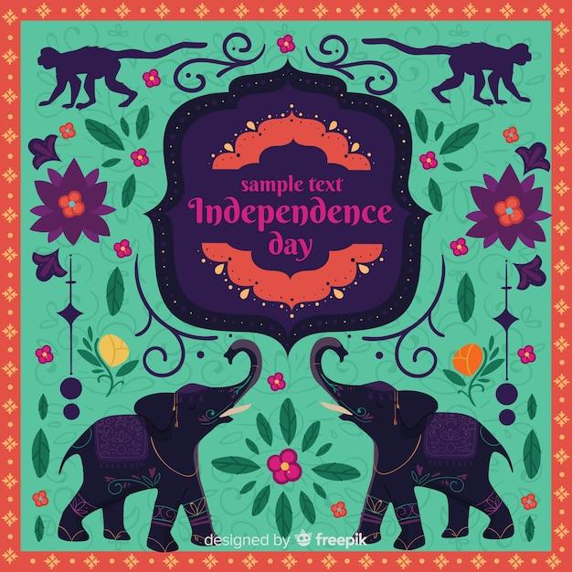 Sfondo colorato indiano festa dell'indipendenza Vettore gratuito