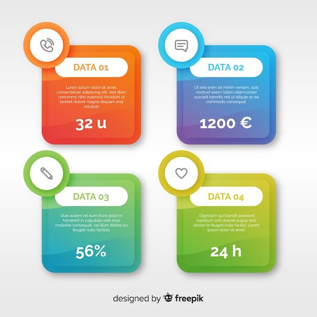 Sfondo colorato infografica piatta Vettore gratuito