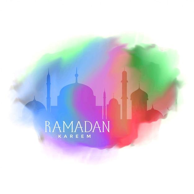 Sfondo colorato per il saluto di ramadan kareem Vettore gratuito