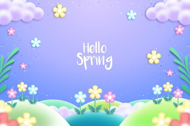 Sfondo colorato realistico primavera Vettore gratuito