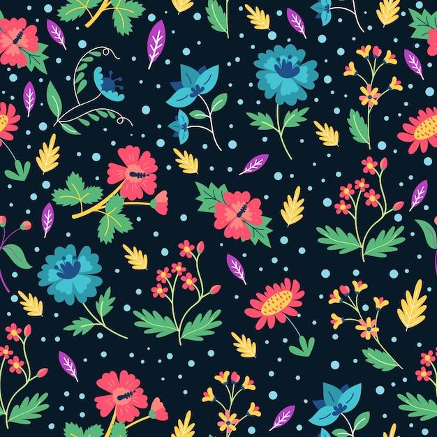 Sfondo colorato stampa floreale ditsy Vettore gratuito