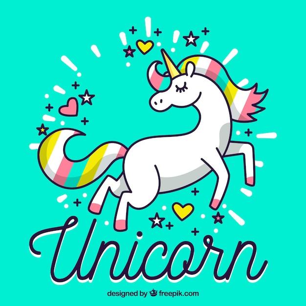 Sfondo Colorato Unicorno Disegnato A Mano Scaricare Vettori Gratis