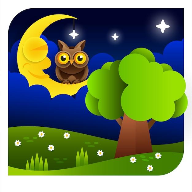 Sfondo con cielo serale. luna e stelle Vettore Premium