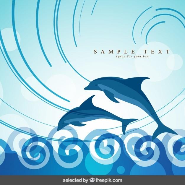 Sfondo con delfini che saltano Vettore gratuito