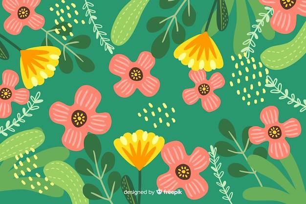 Sfondo con disegno floreale astratto Vettore gratuito