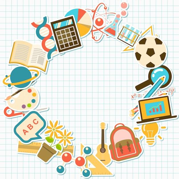 Sfondo con elementi del corso e della scuola, Vettore Premium