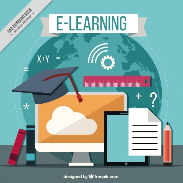 Sfondo con elementi di apprendimento online e design for Designer di garage online gratuito