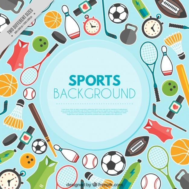 Sfondo con elementi sportivi in design piatto Vettore gratuito