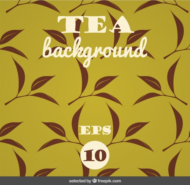 Sfondo con foglie di tè Vettore gratuito