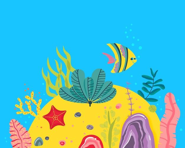 Sfondo con fondo oceanico, scogliere coralline, alghe, stelle marine, pesci. Vettore Premium