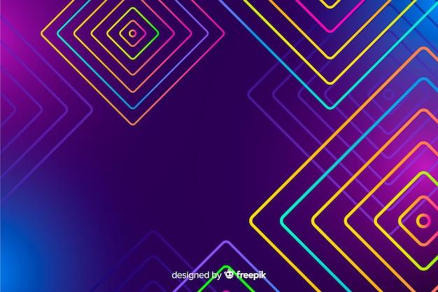 Sfondo con forme geometriche e stile neon Vettore gratuito