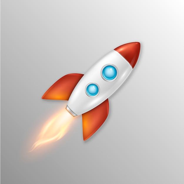 Sfondo con il lancio del razzo spaziale retrò Vettore Premium