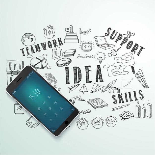 Sfondo con il telefono cellulare e gli oggetti di business Vettore Premium