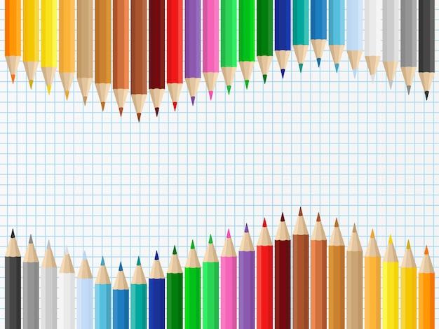Sfondo con matite colorate Vettore Premium