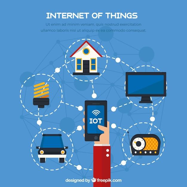 Sfondo con mobili e altri oggetti connessi a internet Vettore gratuito