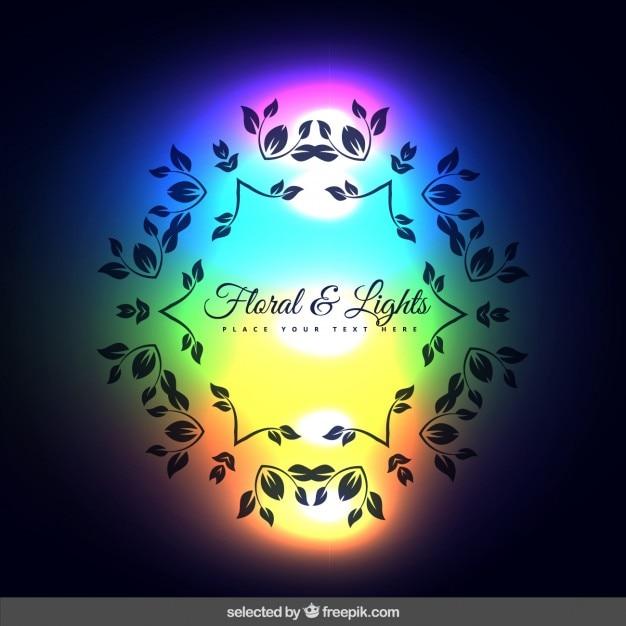 Sfondo con ornamenti floreali e luci al neon  Scaricare vettori gratis