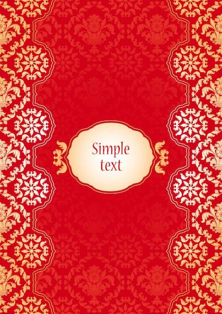 Sfondo con ornamenti rossi e oro Vettore Premium