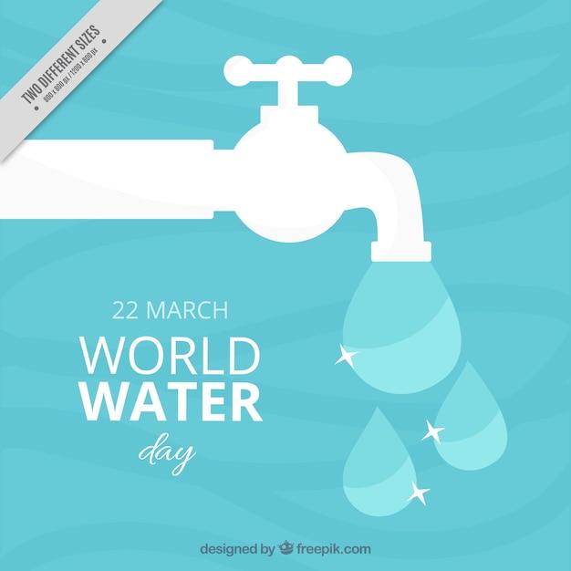 Sfondo con rubinetto bianco e gocce d'acqua Vettore gratuito