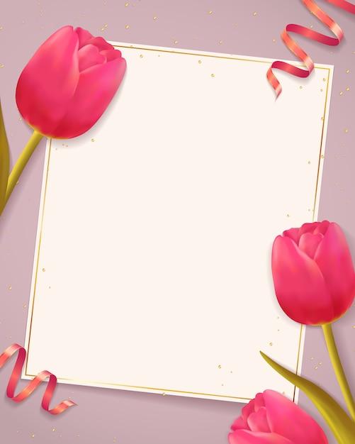 Sfondo con tulipani e foglio di carta bianca. Vettore Premium