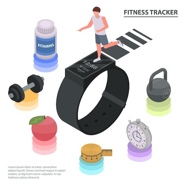 Sfondo concetto di fitness tracker. illustrazione isometrica del fondo di concetto di vettore dell'inseguitore di forma fisica per web design Vettore Premium