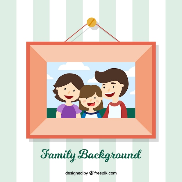 Sfondo cornice con la foto di famiglia Vettore gratuito