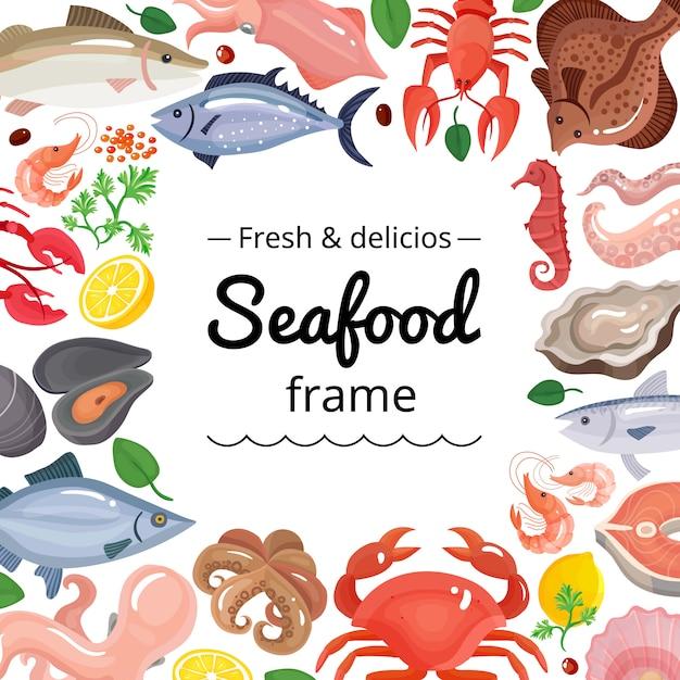 Sfondo cornice di prodotti marini Vettore gratuito