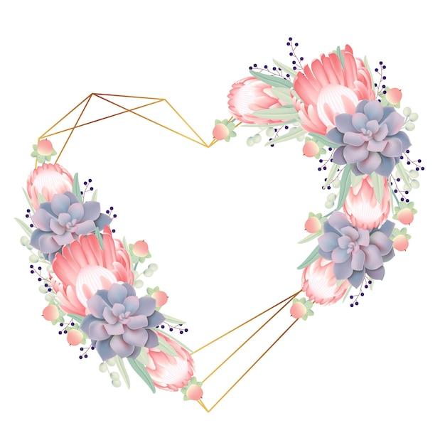Sfondo cornice floreale con fiore di protea e succulente Vettore Premium