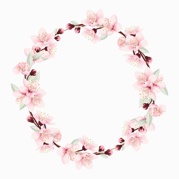 Sfondo cornice floreale con fiori di ciliegio Vettore Premium