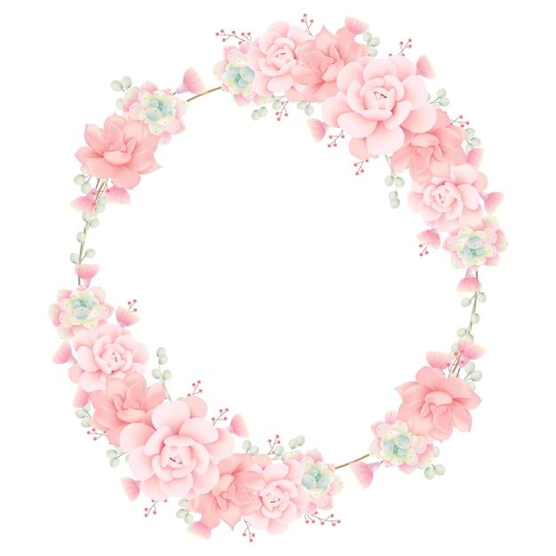 Sfondo cornice floreale con piante grasse Vettore Premium