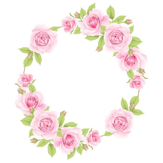 Sfondo cornice floreale con rose rosa Vettore Premium
