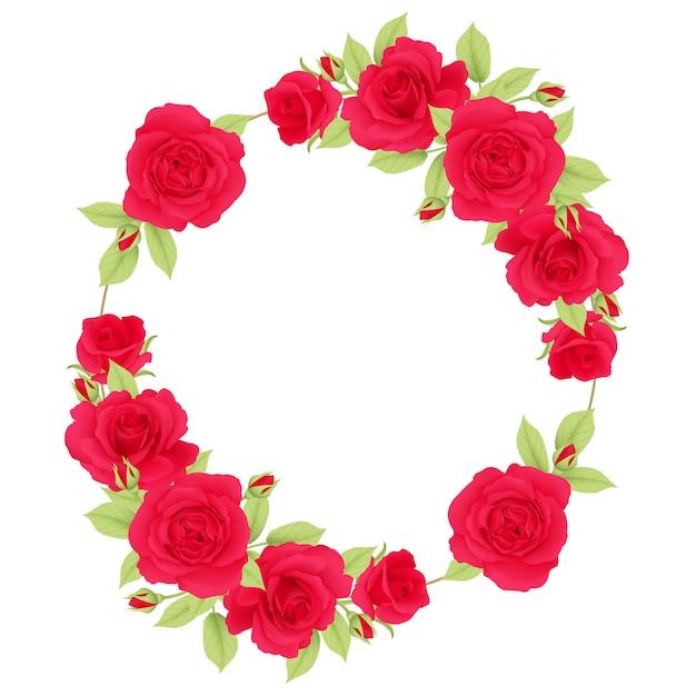 Sfondo cornice floreale con rose rosse Vettore Premium